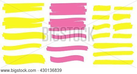 Marker Marks. Yellow Marker Text Selection Vector