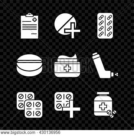Set Medical Clipboard With Clinical Record, Medicine Pill Tablet, Pills Blister Pack, Bottle And Pil