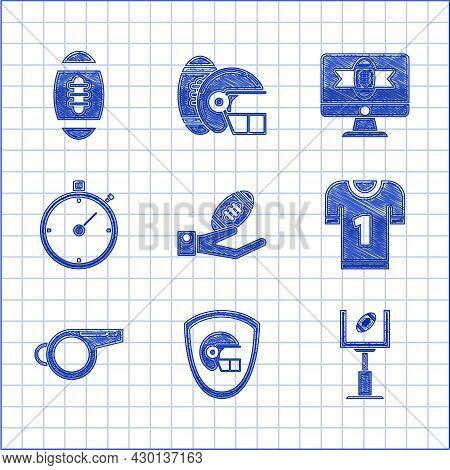 Set American Football Ball On Hand, Football Helmet Shield, Goal Post, Jersey, Whistle, Stopwatch, T