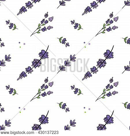 Cute And Colorful Doodle Lavender Flowering Plants Vector Seamless Pattern Background For Nature And
