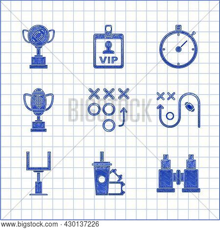 Set Planning Strategy Concept, American Football Ticket And Paper Glass Soda With Drinking Straw, Bi