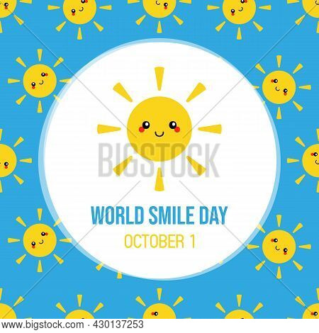 World Smile Day Greeting Card, Illustration With Cute Cartoon Style Yellow Smiling Sun Character And
