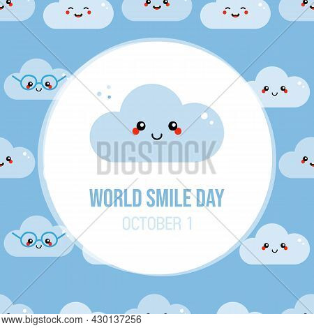 World Smile Day Greeting Card, Illustration With Cute Cartoon Style Smiling Cloud Character And Patt