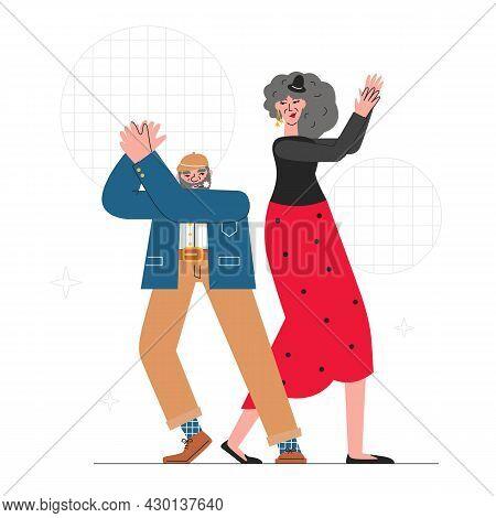 Happy Seniors Dancing Flamenco At Celebration Party. Elderly Beloved Couple Having Fun. Pensioner Ph