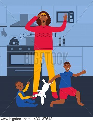 Frustrated African American Mother For Children Argue. Boys Can't Share Toy. Moms Daily Routine On M