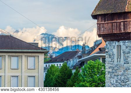 Lucerne, Switzerland, May 29, 2016: View to Tops of Majestic Historical buildings in the center of Lucerne, Switzerland.