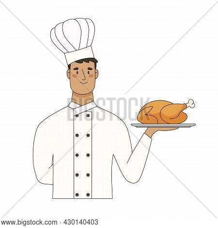 Chef Hold Serving Tray With Baked Chicken Isolated On White Background. Vector Flat Cartoon Illustra