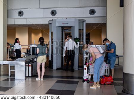 Moscow, Russia, Airport Domodedovo - July 19, 2021: Security Check Area In The Airport