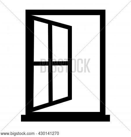 Window Linear Icon On White Background. Window Open Sign. Window Symbol. Flat Style.