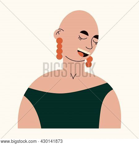 Bald Young Smiling Girl Avatar. Portrait Of Trendy Bald Woman With Earrings. Happy Girl Defeating Ca