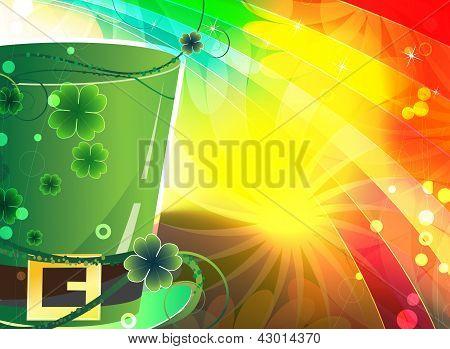 Rainbow Background And  Magic Hat