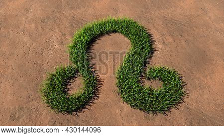 Concept conceptual green summer lawn grass symbol shape on brown soil or earth background, sign of leo zodiac sign. 3d illustration symbol for esoteric, mystic, the power of prediction of astrology
