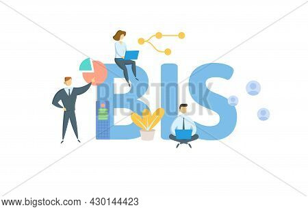 Bis, Bank For International Settlements. Concept With Keyword, People And Icons. Flat Vector Illustr