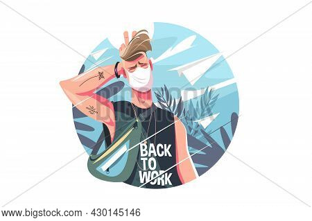 Guy Student In Shirt Vector Illustration. Handsome Man In Protective Face Mask Flat Style. Stylish H