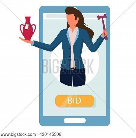 Smartphone With Auctioneer Holding Gavel, Vase. Online Auction, Internet Bidding From Mobile Phone,