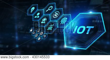 Internet Of Things - Iot Concept. Businessman Offer Iot Products And Solutions. Abstract Chip With T
