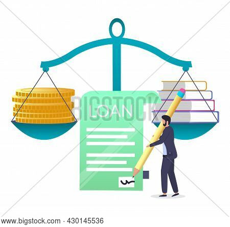 Money And Books On Scales. Man Signing Loan Agreement, Vector Illustration. Student Loan. Knowledge