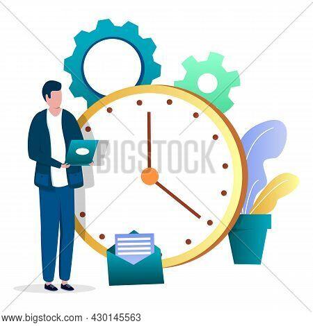 Businessman, Employee Standing Next To Clock, Vector Illustration. Task Management, Planning Schedul