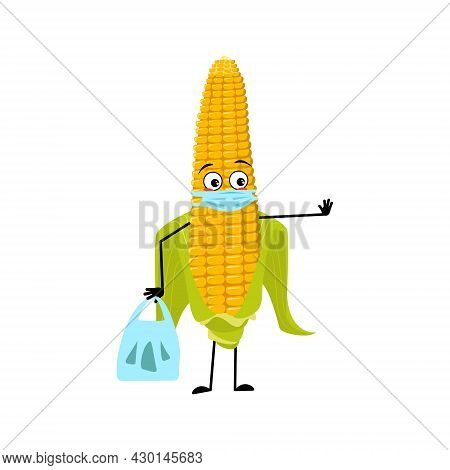 Cute Corn Cob Character With Sad Emotions, Face And Mask Keep Distance, Hands With Shopping Bag And