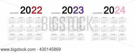 Year 2022 And Year 2023 And Year 2024 Calendar Vector Design Template, Simple And Clean Design. Cale
