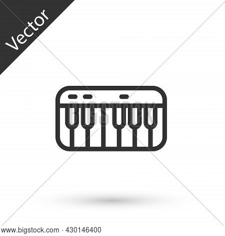 Grey Line Music Synthesizer Icon Isolated On White Background. Electronic Piano. Vector