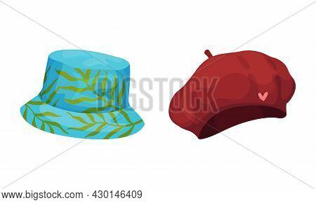 Set Of Headgears, Panama Hat And Beret Cartoon Vector Illustration