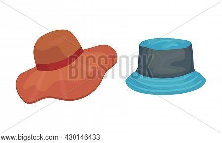 Set Of Headgears, Male And Female Fashion Summer Headwear Cartoon Vector Illustration