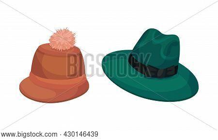 Set Of Headgears, Male Retro Fashion Headwear Cartoon Vector Illustration