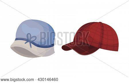Set Of Headgears, Male And Female Headwear Cartoon Vector Illustration