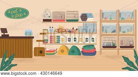 Pet Shop Interior Concept Vector Illustration. Animal Store With Canine Food, Birds Cage, Aquarium W