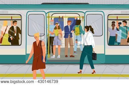 Passengers On Crowded Platform Boarding Metro Train. People Travel By Subway Train Vector Illustrati