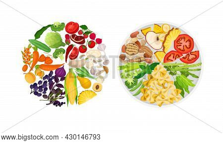 Fresh Balanced Meal With Vegetables, Fruit, Nuts, Mushroom. Top View Of Healthy Plates Vector Illust