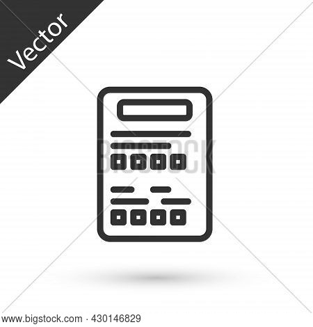 Grey Line Exam Sheet Icon Isolated On White Background. Test Paper, Exam, Or Survey Concept. School