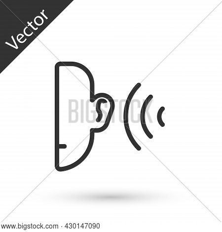 Grey Line Ear Listen Sound Signal Icon Isolated On White Background. Ear Hearing. Vector