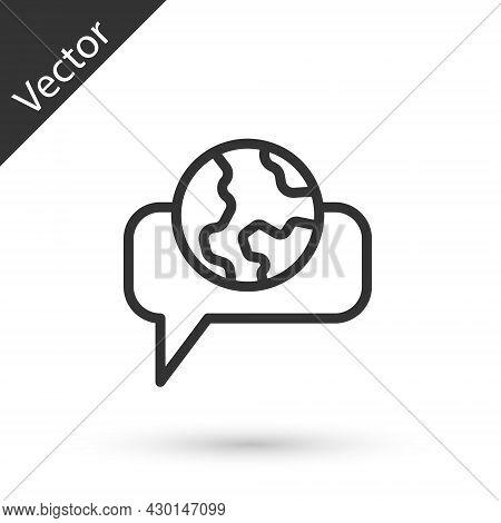 Grey Line Learning Foreign Languages Icon Isolated On White Background. Translation, Language Interp