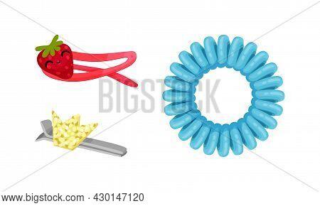 Fashion Girlish Hair Accessories Set. Cute Hairpins, Clips Cartoon Vector Illustration
