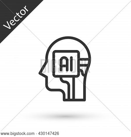 Grey Line Humanoid Robot Icon Isolated On White Background. Artificial Intelligence, Machine Learnin
