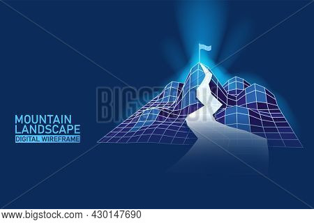 Digital Landscape Mountaine With Path On The Top. Success, Business Goals, Achievement. Abstract Wir