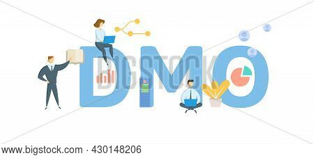 Dmo, Destination Management Organisation. Concept With Keyword, People And Icons. Flat Vector Illust