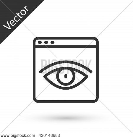 Grey Line Browser Incognito Window Icon Isolated On White Background. Vector