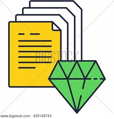 Brilliant Idea Icon With Vector Gemstone And Paper