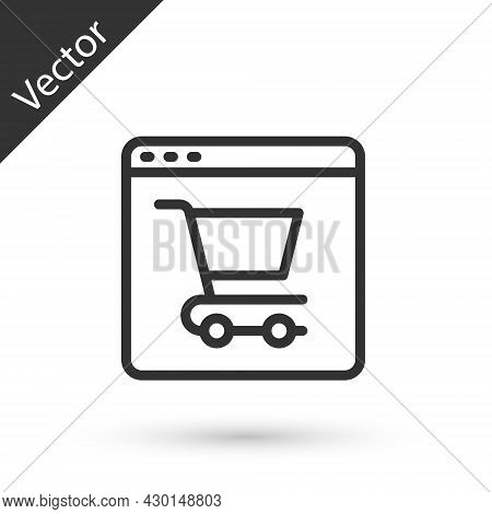 Grey Line Online Shopping On Screen Icon Isolated On White Background. Concept E-commerce, E-busines