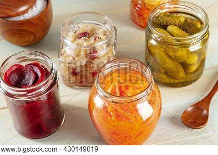 Probiotic Foods. Fermented Food. Canned Sour Cabbage, Carrot, Pickles And Other Preserves In Glass J