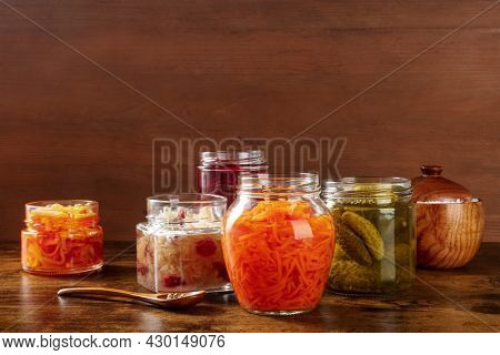 Fermented, Probiotic Food. Canned Vegetables. Pickled Carrot, Sauerkraut And Other Organic Preserves