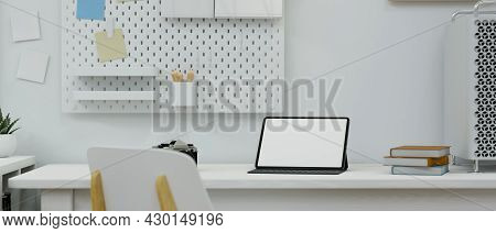 Minimal Modern Working Space Apartment, Tablet Screen Mockup Standing On Desk