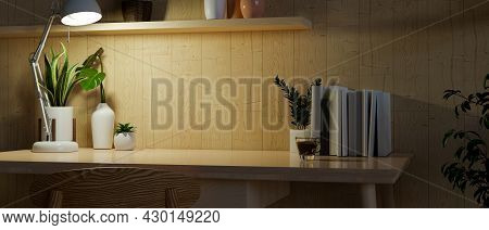 Copy Space In Modern Home Workspace, Wooden Working Desk With Copy Space For Display