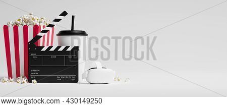 Cinematograph, Virtual Experience Movie With Vr Glasses On White Background