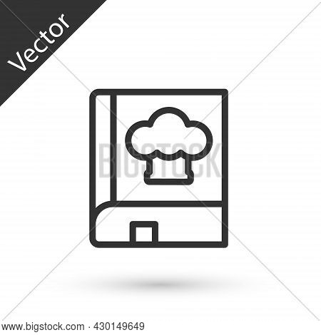 Grey Line Cookbook Icon Isolated On White Background. Cooking Book Icon. Recipe Book. Fork And Knife