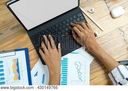 Businesswoman Hands Typing On Laptop, Blank Screen Laptop Mockup