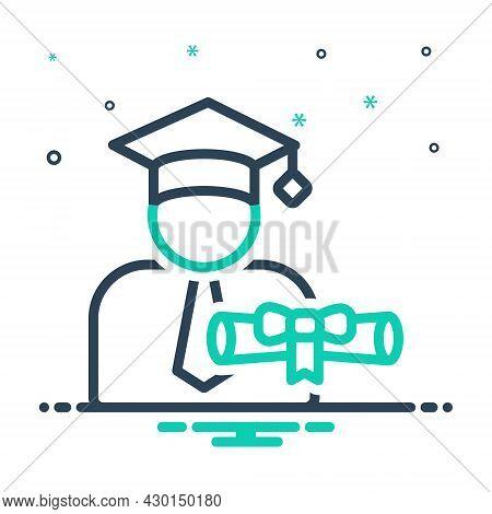 Mix Icon For Scholarship Student Money Achievement Bachelor Cap Degree Diploma Gradutaion Certificat